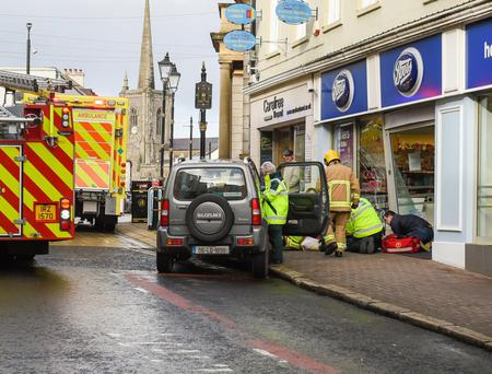 The scene at Townhall Street in Enniskillen after a vehicle crashed into the window of a Boots