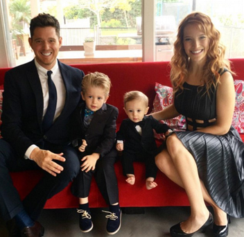Michael Buble and his wife, Luisana Lopilato, with Noah and baby brother Elias