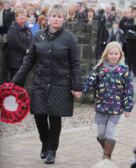 Paula Mayrs and daughter Joanna laid a wreath at Aghadowey War Memorial yesterday in memory of Captain David Patton who was killed in Afghanistan in 2006