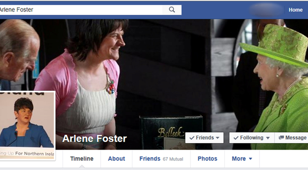 The fake Facebook page purporting to belong to Arlene Foster