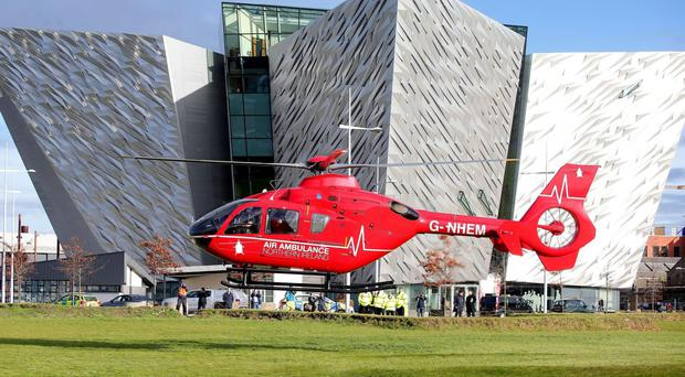 One of the two helicopters outside Titanic Belfast in Northern Irelandt.