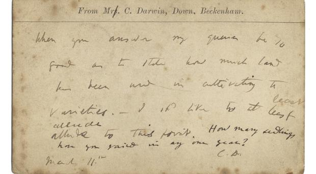 The postcard sent by Charles Darwin to Belfast wine merchant and grocer James Torbitt