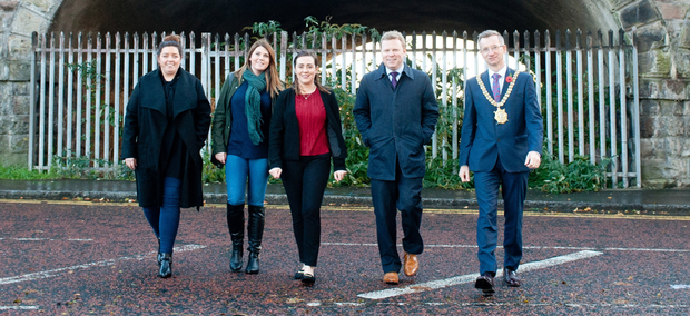 Councillor Deirdre Hargey, Kathleen McCarthy, Community Regeneration Officer MDA, Junior Ministers Megan Fearon and Alastair Ross and Lord Mayor of Belfast, Alderman Brian Kingston at the Lanyon Tunnels