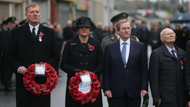 First Minister Arlene Foster and Taoiseach Enda Kenny (second right) at a Remembrance Sunday service at the Cenotaph in Enniskillen