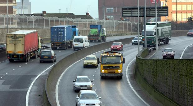 The Westlink in Belfast is experiencing long tailbacks