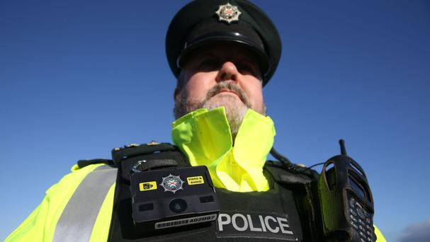 Inspector Alan Swan wears a body camera at Musgrave police station in Belfast