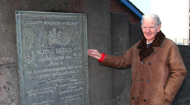 Brian Hancock by the Boyne Bridge plaque recording his grandfather's part in project