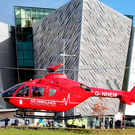 The new air ambulance outside Titanic Belfast