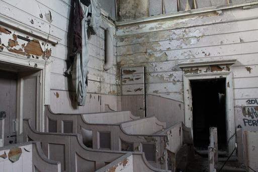 The dilapidated interior of the once majestic Crumlin Road Courthouse