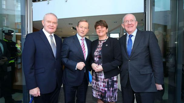 Deputy First Minister Martin McGuinness, Taoiseach Enda Kenny, First Minister Arlene Foster and Minister for Foreign Affairs and Trade Charlie Flanagan at the NSMC meeting (Press Eye/PA)