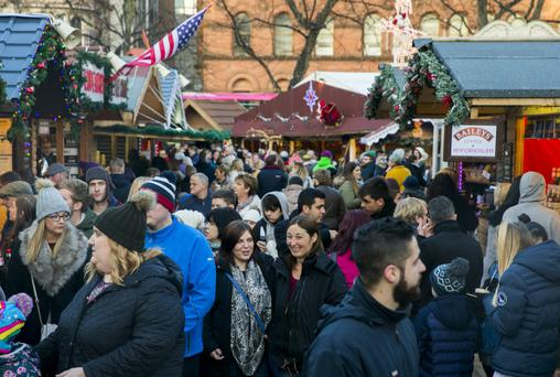 The packed Christmas market at City Hall