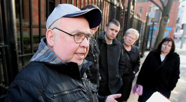 The father of Pearse Jordan, Hugh Jordan, speaks to the media following a preliminary inquest into his son's shooting