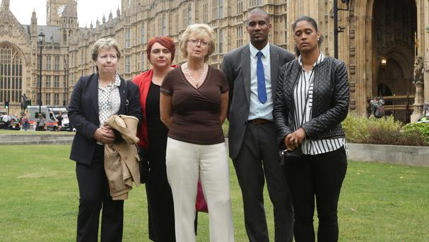 (left to right) Jayne Hambleton, Soraya Rowlands, Julie Hambleton, Paul Bridgewater and Michelle Sealey, some of the relatives of the 21 victims of the IRA Birmingham pub bombings.