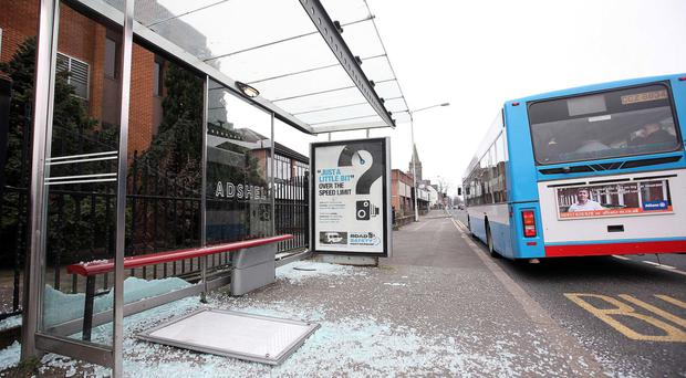 Vandalised bus shelter in the Ballyhackamore area of east Belfast