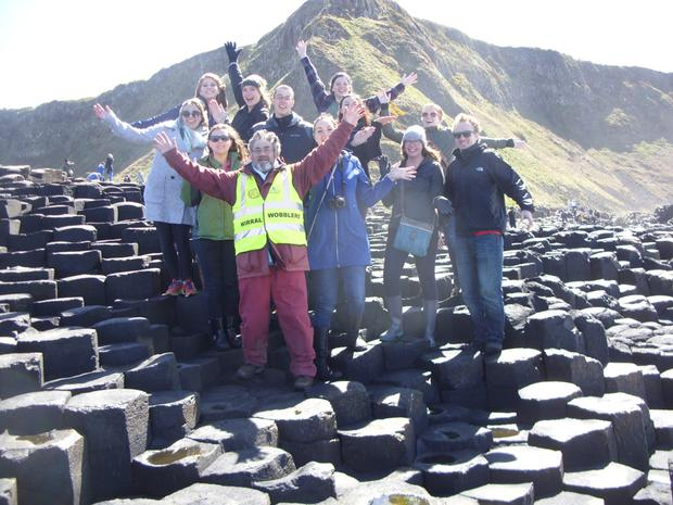 The Wirral Wobblers with American tourists at the Giant's Causeway
