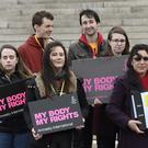 Pro-choice campaigners protesting outside Stormont yesterday morning