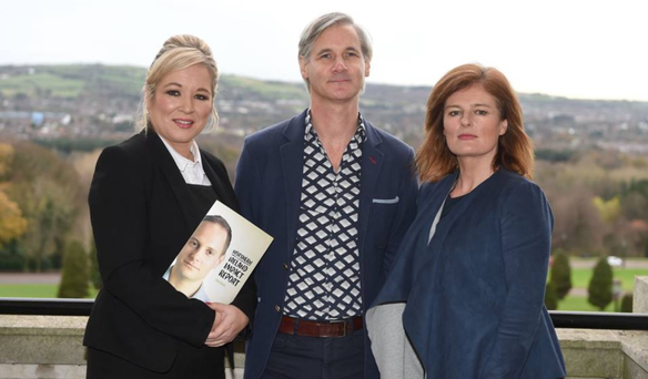 Health Minister Michelle O'Neill MLA, Professor Rory O'Connor and Deirdre Toner, Executive Director of Samaritans at the launch of charity's annual report at Stormont