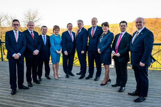 Members of the British Irish Council at the Vale Resort near Cardiff yesterday