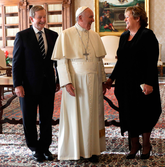 Pope Francis with Enda Kenny and his wife Fionnuala yesterday