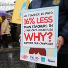 Teachers protesting about pay levels in Belfast this month