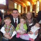 Phelim Brewster with Una and, from left, James (now nine) and siblings Clara and Michael