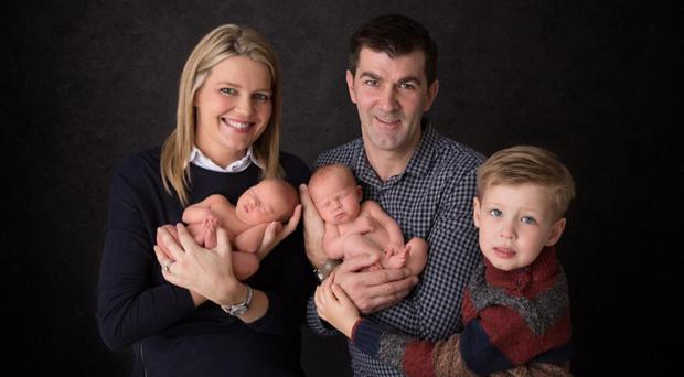 Judith Grey with husband Gareth, son Wilson and twins Julia and Jessica