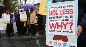 Teachers protesting about pay levels in Belfast earlier this month