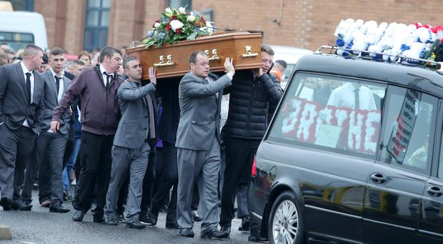 The funeral of Graham Larsen takes place at Whitewell Tabernacle on the Shore Road in north Belfast