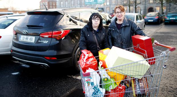 Sisters Mary and Linda O'Neill bargain hunting at The Quays shopping centre in Newry