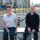 Leona and Peter Murphy in the play park at Racecourse Park in Derry, which is named after their son Jake