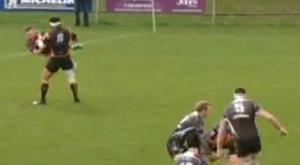 Ballymena's Mark Best is lifted and thrown to the ground in an off the ball incident