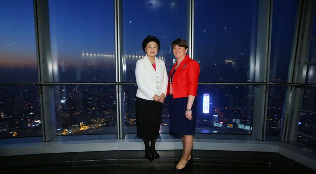 First Minister Arlene Foster during a tour of Shanghai Tower with Chinese Vice Premier Madam Liu Yandong.