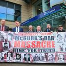 Families of those murdered in the McGurk's Bar massacre outside a meeting of the Policing Board last week.