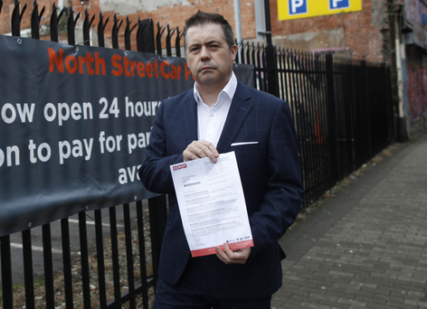 A furious Glyn Roberts with the letter he was sent
