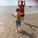 Billy Caldwell enjoying a day on the beach with his brother Kyle Mo