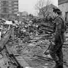 The remains of McGurk's Bar in Belfast, where 15 people died in a bomb blast