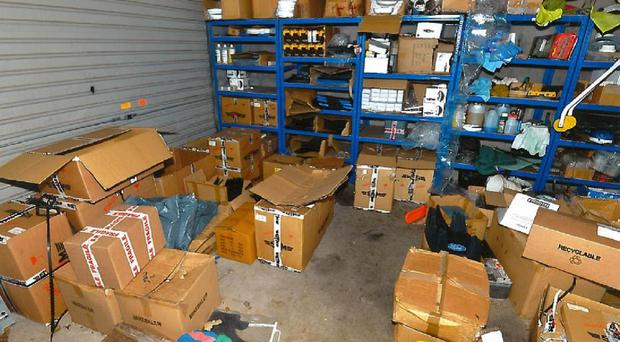 The counterfeiting operation, based in the defendant's garage in Templepatrick, saw fake goods produced in China and sold to customers