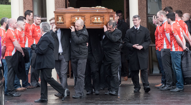 The funeral of Ryan McCaul at Immaculate Conception Church in Gortnaghy, near Dungiven