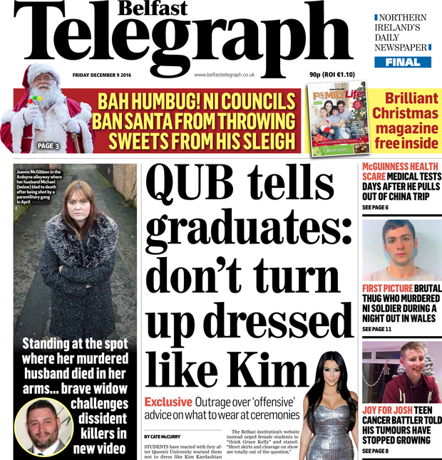 Belfast Telegraph's front page on Friday
