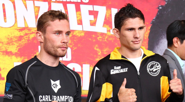 Carl Frampton with Alejandro Gonzalez Jr before their 2015 bout (Presseye)