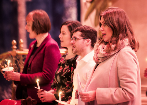 Sarah Travers compered the Carols by Candlelight concert at St Anne's Cathedral in Belfast, as part of a series of events throughout the UK to raise funds for the Alzheimer's Society and awareness of the disease