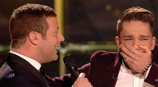 Matt Terry with Dermot O'Leary on hearing the news that he had beaten Saara Aalto in the final