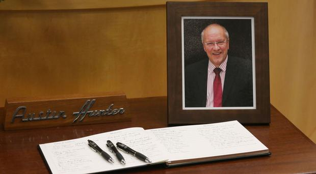 A book of condolence at a service of thanksgiving for journalist Austin Hunter at Second Presbyterian Church in Comber, Newtownards