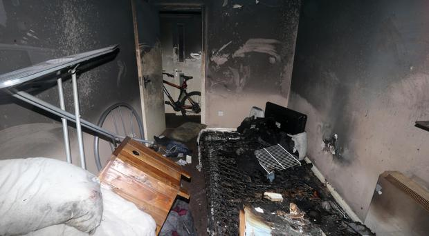 Damage caused in an arson attack in east Belfast