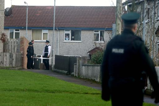 Police at the house in Harpurs Hill, Coleraine, where the body of Colin Doherty was found