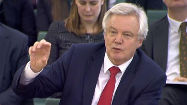 Brexit Secretary David Davis gives evidence to the Commons Exiting the EU Committee at Portcullis House in London