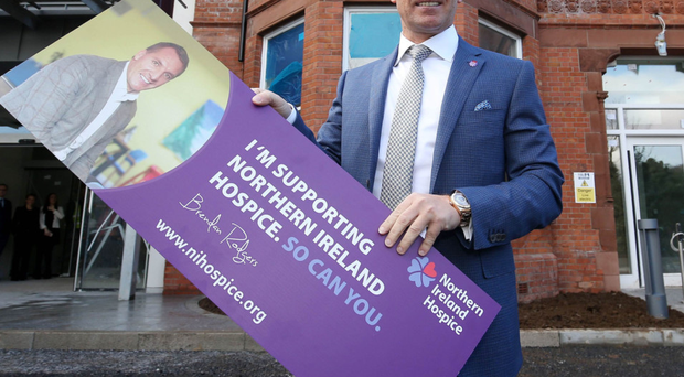 Brendan Rodgers outside the Northern Ireland Hospice's new Belfast HQ after he was named an official ambassador for the charity in March