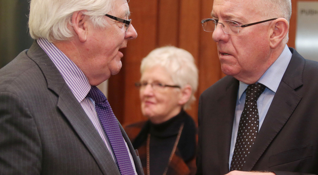 Charlie Flanagan with Michael Gallagher, whose son died in the Omagh bomb