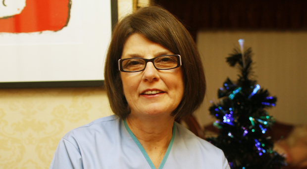 Carmel Francis at home in south Belfast before her last shift in the Royal Victoria Hospital