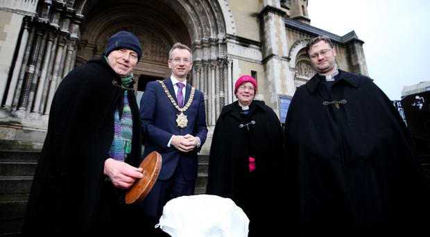 Dean John Mann (left) with Belfast Lord Mayor Brian Kingston, Rev Canon Ruth Patterson and Rev Canon Mark Niblock